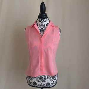 Tailor B.Moss Pink Fitted Sleeveless Button Down